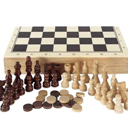 Conjunto Ajedrez-Damas-Backgammon Plegable Madera Clara
