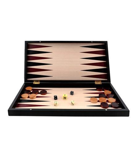Backgammon Mediano Madera Negro Sin Barra