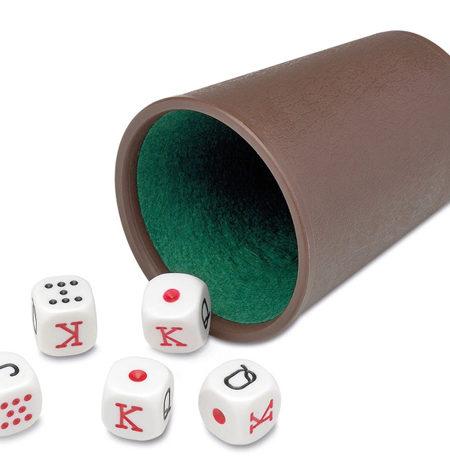 Cubilete plástico + Dados Poker