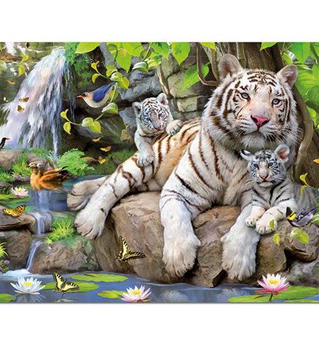 Puzzle 1000 Tigres blancos de Bengala