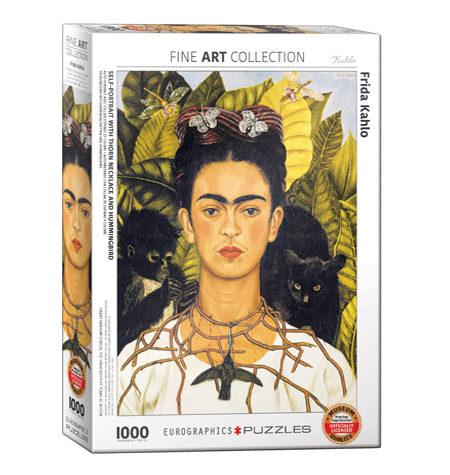 Puzzle 1000 Frida Khalo – Autorretrato con Collar de Espinos y Colibrí